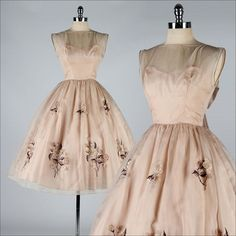 Etsy listing at https://www.etsy.com/listing/164649943/vintage-1950s-dress-mocha-organza