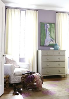 bedrooms - gold pink rug gray vintage Wall color - chest lilac walls white slipcover chair  Sweet lilac bedroom with lilac walls paint color, gray vintage