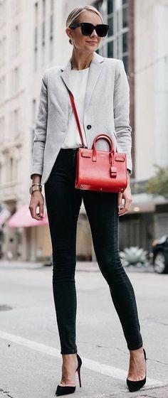 office style addiction / blazer + red bag + skinnies + heels + top