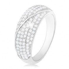 Ródiumozott gyűrű, 925 ezüst, domború átlátszó cirkóniákkal díszített sáv