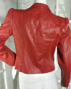 Vintage Casual Corner Lined Red Fitted Leather Jacket with Rounded Shoulders #CasualCorner #BasicJacket