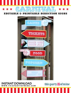 Carnival Party Circus Party Direction Signs by thispartyofmine