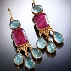 Ruby & Aquamarine Drop Earrings