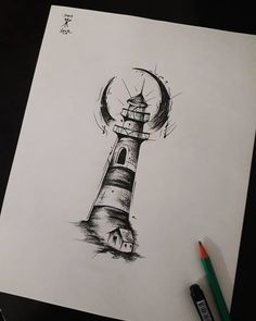 Lighthouse design, no house, light around top. Too heavy and sketchy style-wise. Tattoo Sketches, Tattoo Drawings, Art Sketches, Kunst Tattoos, Neue Tattoos, Cool Small Tattoos, Little Tattoos, Future Tattoos, Tattoos For Guys