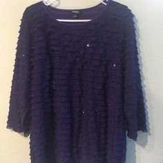 Ruffled Blouse Cute purple, ruffled shirt. Has some glitter all around. Perfect condition! Elementz Tops Blouses