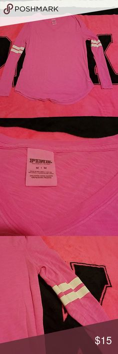 Pink long sleeve Tee Cute V-Neck Tee, stripes on upper arm, curved hem, pink dog on bottom left front, never worn, perfect condition PINK Victoria's Secret Tops Tees - Long Sleeve