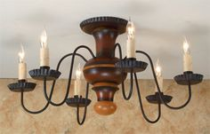 Flush Mount Sullins Chandelier by Lt. Moses Willard (note to self: kitchen) Country Chandelier, Semi Flush Lighting, Country Primitive, Decorating Ideas, Decor Ideas, Kitchen Remodel, Ceiling Lights, Needful Things, Interior Design