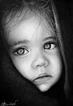 Pencil Portrait Mastery - A baby girl portrait I did a while. Graphite, charcoal and white ink used. 4h. spent. Discover The Secrets Of Drawing Realistic Pencil Portraits