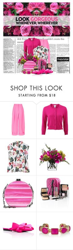 """Look Gorgeous Whenever, Wherever"" by queenrachietemplateaddict ❤ liked on Polyvore featuring Natasha Zinko, Oscar de la Renta, Lux-Art Silks, Edie Parker, Trish McEvoy, Delpozo, Isharya, floral, Pink and cardigan"