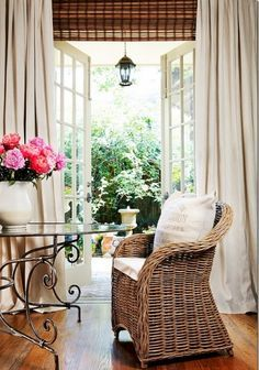 bamboo blinds french doors and curtains -