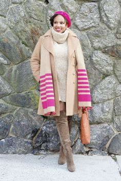 {CALVIN KLEIN Wool Camel Coat, H&M Sweater Dress + Earrings, AMERICAN APPAREL Beret, PIPPIN VINTAGE Hat Pin, J. CREW Striped Scarf, LANCEL Tote, SAM EDELMAN Over-the-Knee Boots}