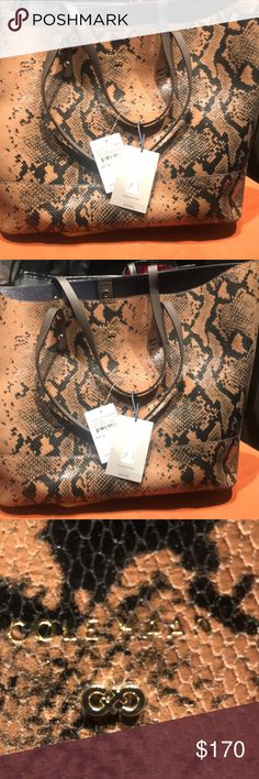 Cole HAAN Leather PYTHON tote Bag Black anTan Leather Python New Tote Bag obo Cole Haan Bags Totes