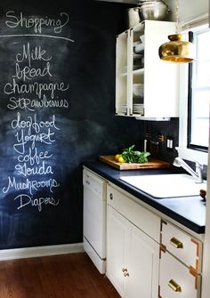 Add a chalkboard wall to your kitchen.