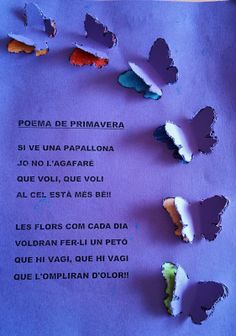 Poema primavera Tapas, Easy Crafts To Make, Projects To Try, Arts And Crafts, Spring, Valencia, Butterflies, Reading, Books