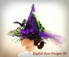 Purple Witch Hat * Elegant Witch Hat * Whimsical Witch Hat * Halloween Costume * Halloween Decor * Childs Witch Hat
