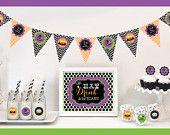 Halloween Party Decorations - Halloween Banner Halloween Birthday Party - Halloween Cupcake Toppers - Halloween Sign Party KIT (EB4000SHLWN)