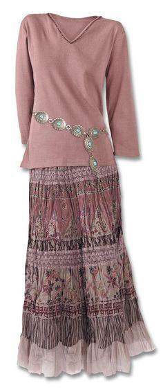Dusty Rose Crinkle Skirt