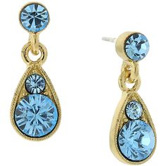 1928 Jewelry Gold-Tone Blue Teardrop Earrings ($13) ❤ liked on Polyvore featuring jewelry, earrings, gold tone earrings, goldtone jewelry, tear drop earrings, blue jewelry and 1928 jewelry