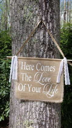 Burlap Wedding Banner Here Comes The Bride by YourDivineAffair