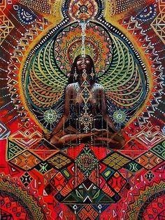 Highest high hand tranfer on wood hand painted yoga art visionary art Art Original, Original Paintings, Spirit Art, Yoga Kunst, Art Visionnaire, Psy Art, Sacred Feminine, Yoga Art, Visionary Art