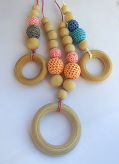 Nursing Necklace, Teething Necklace with Blue & Turquoise Crochet Beads, Wood Beads and Wood Teether Ring - pinned by pin4etsy.com