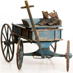 Lot:19th c GOAT CART IN BLUE PAINT W/ BOOTS & BRANDING IRON, Lot Number:1124, Starting Bid:$250, Auctioneer:John McInnis Auctioneers, Auction:19th c GOAT CART IN BLUE PAINT W/ BOOTS & BRANDING IRON, Date:06:00 AM PT - Jan 3rd, 2015