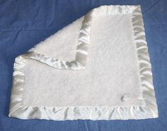 """Barefoot Dreams Bamboo Chic Security Blanket Chenille Cream Ivory Baby Satin 14"""" #BarefootDreams"""