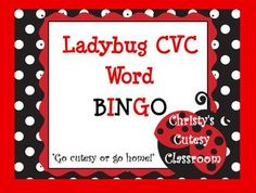 This collection includes downloads for a class set of 25 CVC word bingo cards featuring ladybug theme.  You print the number you need.  Great for small or whole group use.Christy's Cutesy Classroom