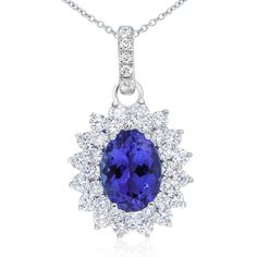Rare and beautiful. Kilimanjaro tanzanite and diamond cluster style pendant. This oval tanzanite is a deep purple-blue colour. Crafted in white gold. The gold chain is adjustable from 42 - long. Fine Jewelry, Unique Jewelry, Deep Purple, Colored Diamonds, Gold Chains, Natural Diamonds, Blue Sapphire, Bridal Jewelry, Jewelry Collection