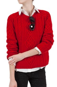 Loving this #cozy Goat Sonny Cable Crew Sweater $310.00 in the perfect shade of #red and makes a great #giftidea