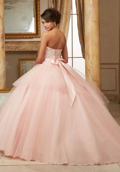 Morilee Valencia Quinceanera Dress 60003 BEADED LACE BODICE WITH FLOUNCED TULLE BALL GOWN  Removable Satin Tie Bow. Matching Stole. Colors Available: Blush/Ivory, Scarlet, White Color of this dress: Blush/Ivory