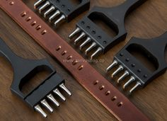Watch Strap Punch Tool -Black Oval Punch- 5 Prongs 6.5mm Spacing Vegetable tanned Leather Oval Chisel - Canvas Bag Leather Bag CanvasBag.Co