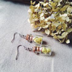 Yellow real flower earrings 18x12mm earrings with by Marakelyan