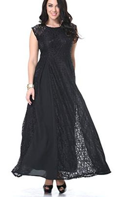 75774dd721 Yacun Women s Sleeveless Black Long Lace Contract Formal Dress Evening Gown  Review Plus Size Lace Dress