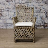VICTORIA chair with harlekin wicker in cubu rattan in antique grey finish.