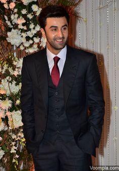 Handsome actor Ranbir Kapoor suits up for a wedding. via Voompla.com