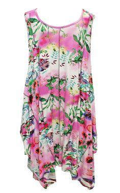 AKH Fashion Lagenlook zauberhaftes Sommerkleid Tunika in rosa große Größen bei www.modeolymp.lafeo.de