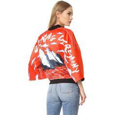 Opening Ceremony Reversible Kimono Bomber Jacket ($530) ❤ liked on Polyvore featuring outerwear, jackets, cantaloupe multi, zipper jacket, blouson jacket, letter jacket, red cropped jacket and flight jacket