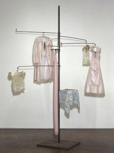 Louise Bourgeois,  Pink Days and Blue Days, 1997. Steel, fabric, bone, wood, glass, rubber, and mixed media, 117 × 87 × 87 in. (297.2 × 221 × 221 cm) overall. Whitney Museum of American Art, New York; purchase with funds from The Lauder Foundation, Evelyn and Leonard Lauder Fund, the Painting and Sculpture Committee, the Tom Armstrong Purchase Fund, Danielle Lemmon and the Jack E. Chachkes Endowed PurchaseFund 97.101a-s  Art © Louise Bourgeois Trust / Licensed by VAGA, New York, NY