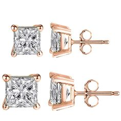 * Penny Deals * - FANTOM Rose Gold Overlay Sterling Silver 6mm Princess and 8mm Princess 2 Pairs of Cubic Zirconia Earrings -- See this great product.