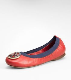 Tory Burch leather Caroline Ballet Flat in Acai Red/French Blue
