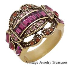 """Heidi Daus """"Sparkling Summer Chic"""" Amethyst Crystal Accented Ring Size 8 New HSN"""
