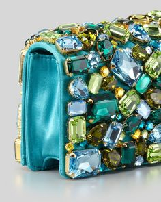 Trendy Women's Purses : Prada Jeweled Satin Clutch Bag, Turquoise – Neiman Marcus Prada Bag, Prada Handbags, Purses And Handbags, Prada Clutch, Fashion Bags, Fashion Accessories, Tokyo Fashion, Street Fashion, Beaded Purses