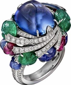 CARTIER. Ring - Platinum, Sapphires, Emeralds, Rubies, brillant-cut Diamonds. Étourdissant Cartier 2015 High Jewellery Collection