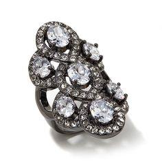 "Joan Boyce ""Black Tie Event"" Clear Stone Swirl-Design Knuckle Ring"
