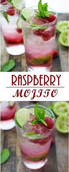 RASPBERRY MOJITO  -This raspberry mojito is sweet and refreshing, ready in under 5 minutes. The perfect drink to serve at a party or just enjoy by yourself.