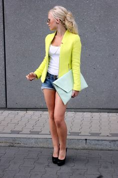 Blazer, clutch....couldn't wear this outfit to work but the color combo is still cute.