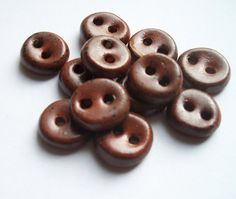Very Small Chocolate Brown Ceramic buttons by buttonalia on Etsy, $22.00
