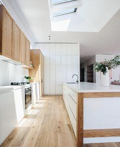 Luxury Kitchen Kyal and Kara's Central Coast Australia home renovation - getinmyhome Top Kitchen Designs, Diy Kitchen Renovation, Luxury Kitchens, Kitchen Design, Skylight Kitchen, Kitchen Renovation, Modern Kitchen, Kitchen Interior, Home Renovation