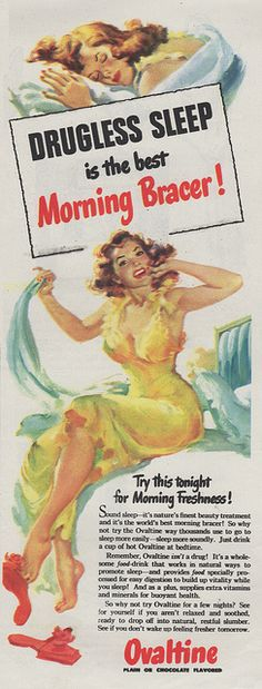 I love the exaggerated colors used in the illustration of this beautiful Ovaltine babe.